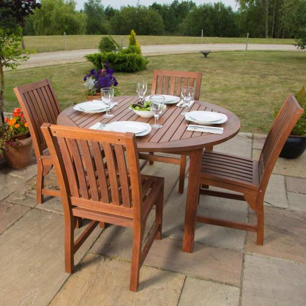 Chair: 43cm Length, 52cm Depth, 90cm Height - Devon Hardwood Outdoor Dining Set - 4 Seat Wooden Round Dining Table