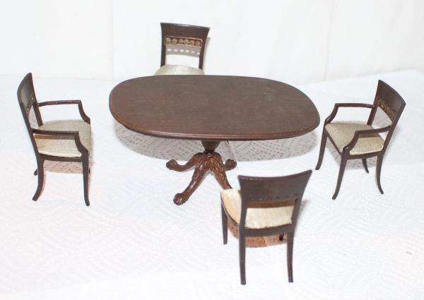 Bespaq Dollhouse Dining Room Table 4 Chairs Pedestal
