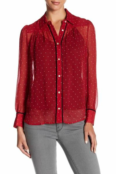 fefcedcbb1303c Details about S FRAME Red Silk Polka Dot Peasant Blouse Top
