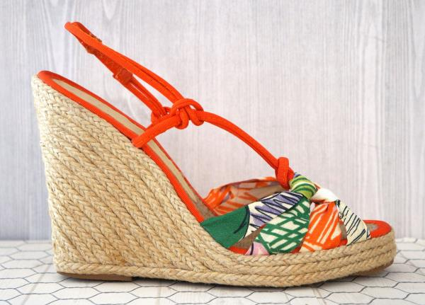 a9879b4d819 Details about STELLA MCCARTNEY 37 Strappy Multi Color Espadrille Wedge  Sandals 6.5 NEW