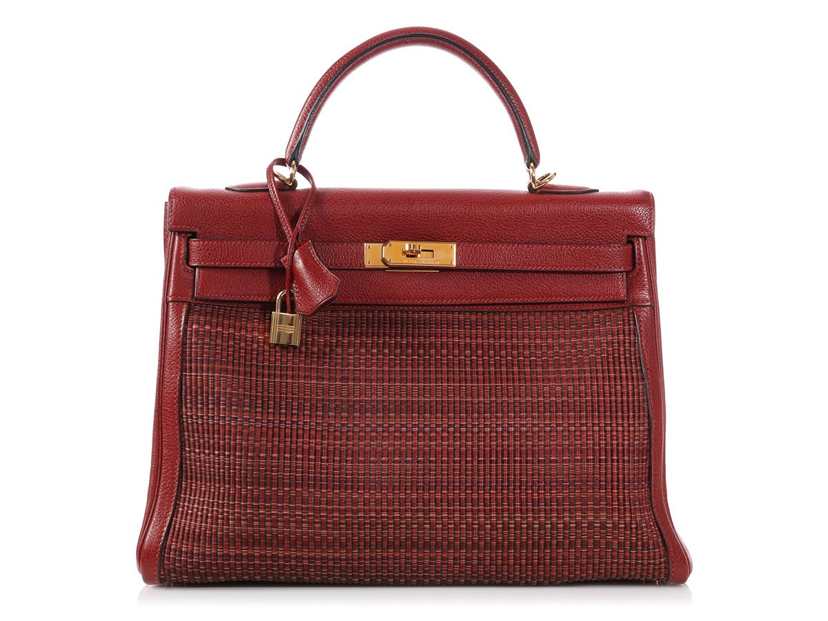 807d9681c493 HERMES 2002 Rouge H Buffalo Leather and Crinoline Kelly 35 Bag Purse ...