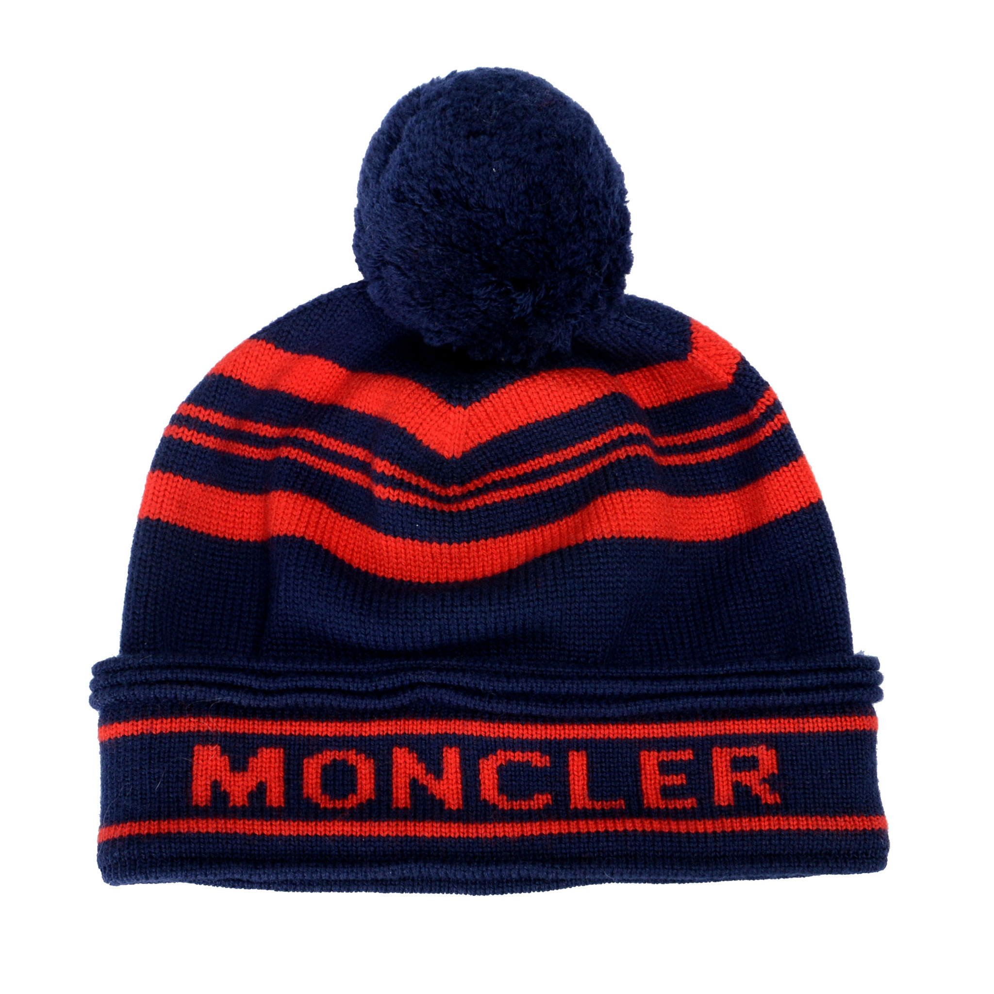 7d4fdd4b3 Details about Moncler Unisex Multi-Color 100% Wool Hat With Pom Pom