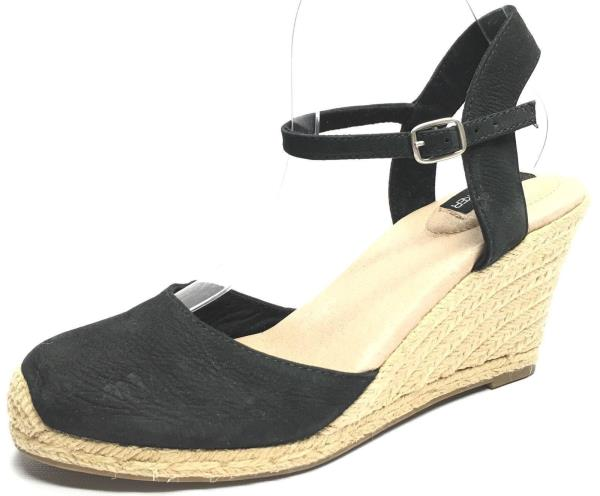 Womens Shoes Adam Tucker Bethany8 Sandal Heels Wedges Black Leather Size 8R 7.5L