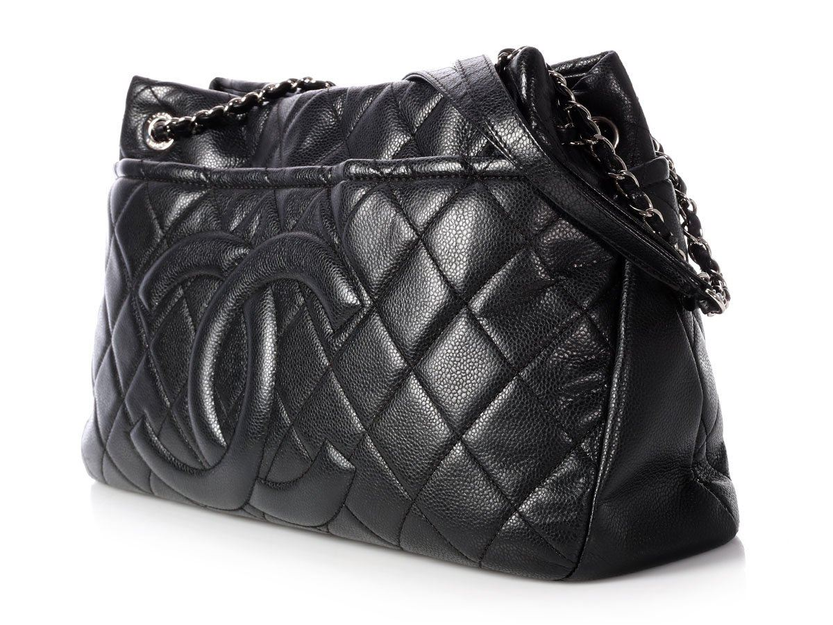 ec4fa48e5fe873 CHANEL 2012 Black Quilted Caviar CC Timeless Tote Bag Purse ~ Ready to shop!