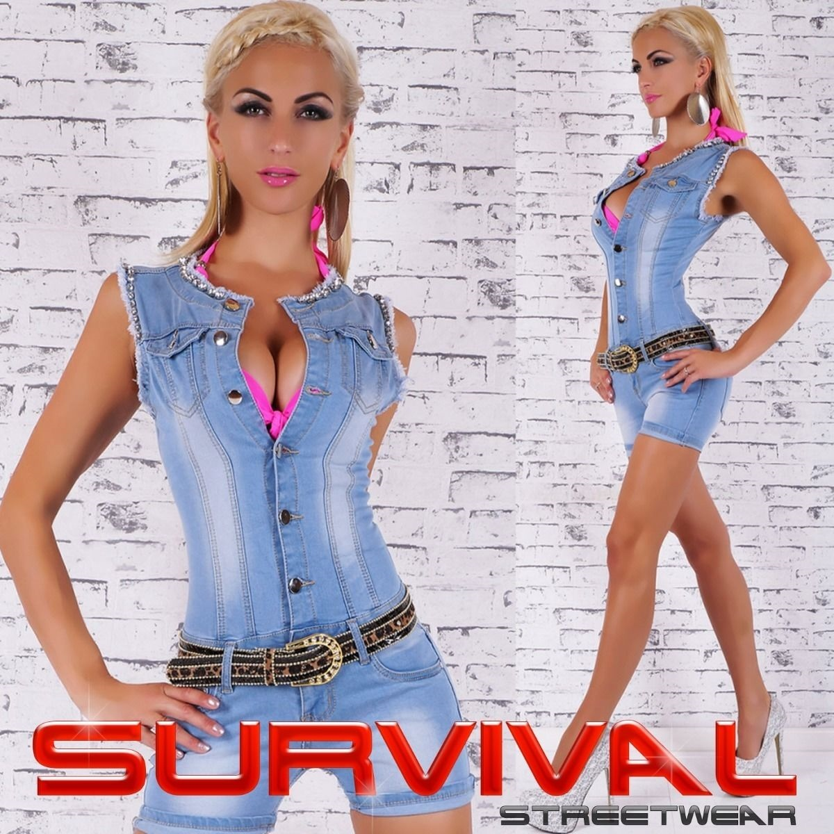 fba36c1e7261 Details about Women s Denim Jumpsuit Shorts Sexy Overalls One Piece FREE  Belt Size 8 10 12 14