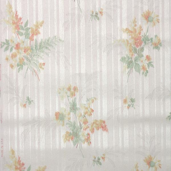 Details About 1940s Vintage Wallpaper Floral Wallpaper With Orange Yellow Flowers On White