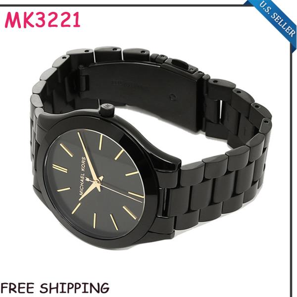 5c8e1df784 New MICHAEL KORS MK3221 Womens Slim Runaway Stainless Steel Black ...