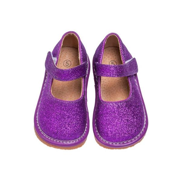 3778b6e88b99 Girl s Leather Toddler Purple Sparkle Mary Jane Squeaky Shoes Sizes 1 to 7