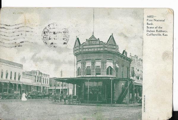Details about first national bank, scene of dalton robbery,coffeyville  kansas postcard 1909