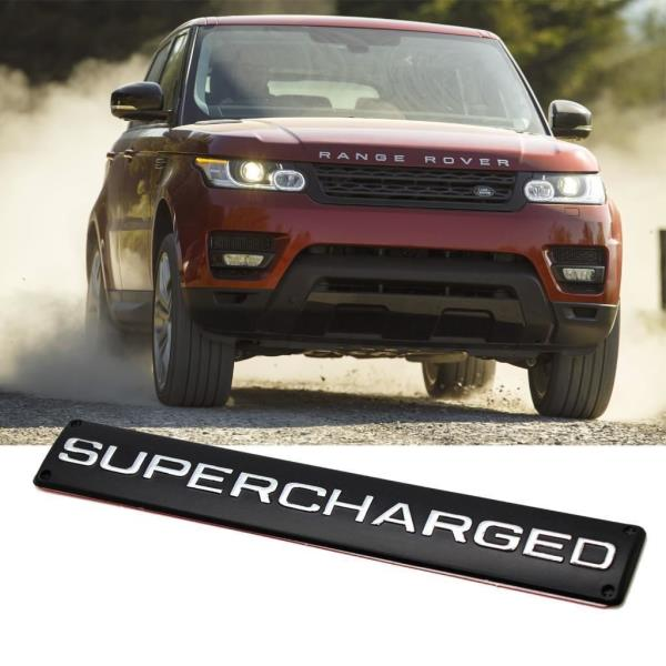 BLACK SUPERCHARGED REAR TAILGATE TRUNK LOGO BADGE For Range Rover LR Discovery