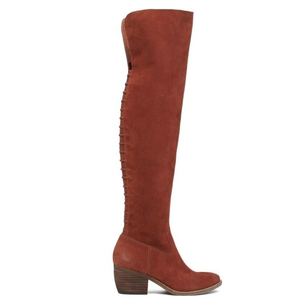 93313825a7d Details about Lucky Brand Khlonn Russet Brown Block Heel Over-The-Knee  Pointed Western Boots