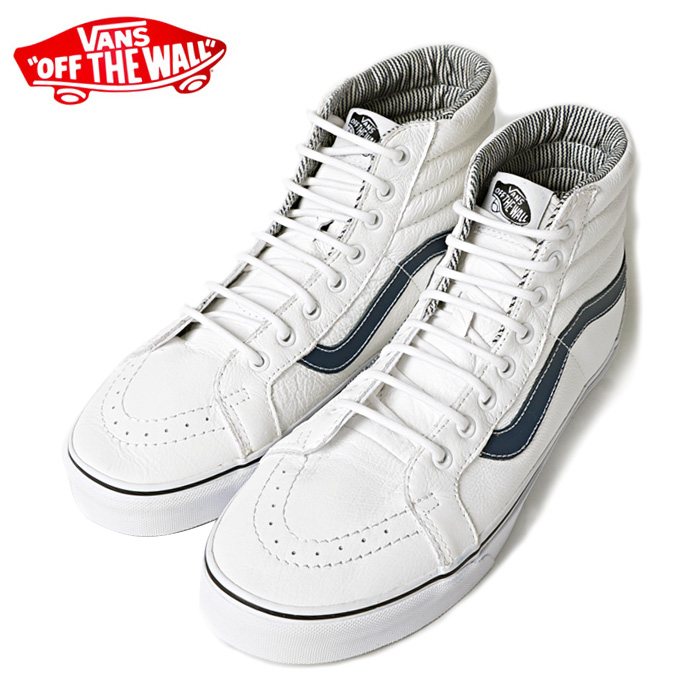 Vans Shoes Sk8 Hi Reissue White Stripes Leather Skateboard Sneakers Kingpin skate supply
