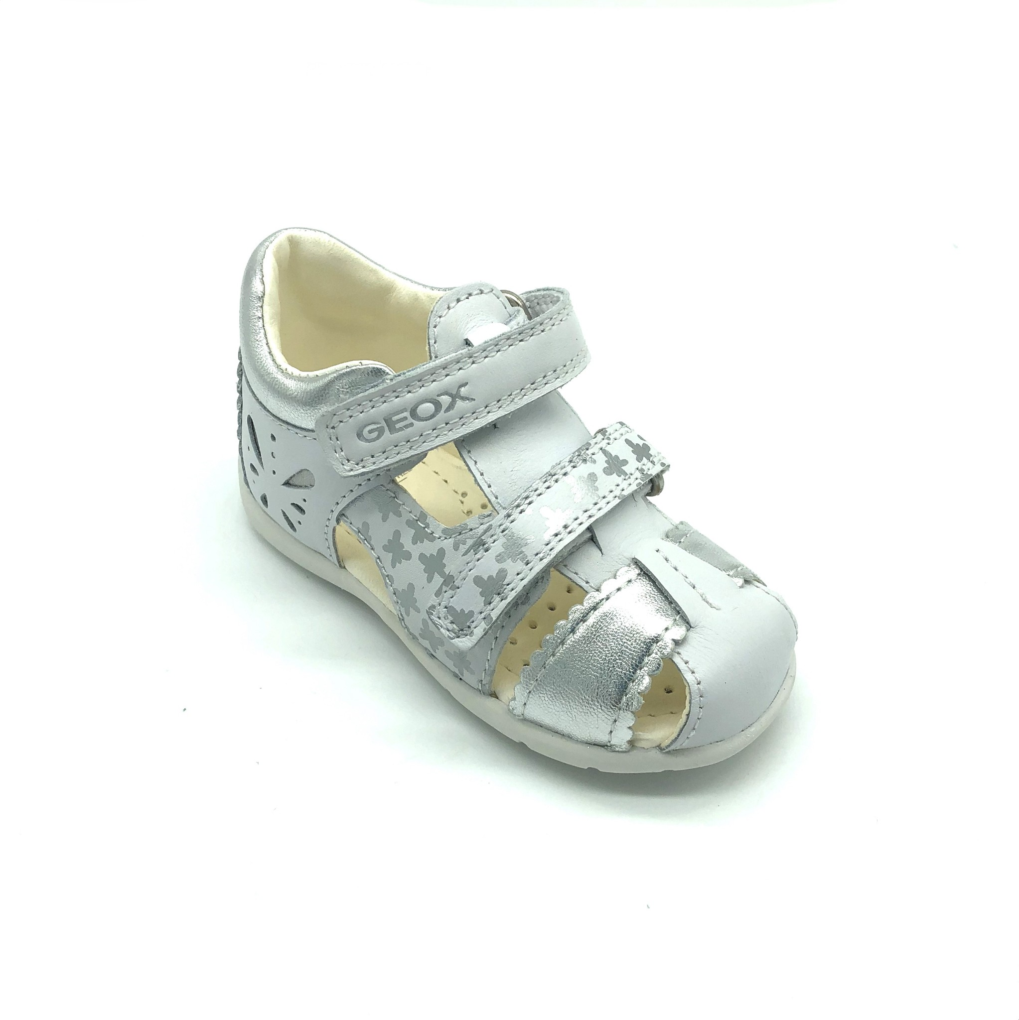 Details about Geox Junior S Karly WhiteSilver Girls Sandal 40% OFF