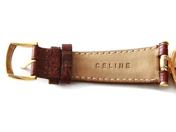 fd76dca5e56d Authentic Celine Marple gold tone watch with brown leather band