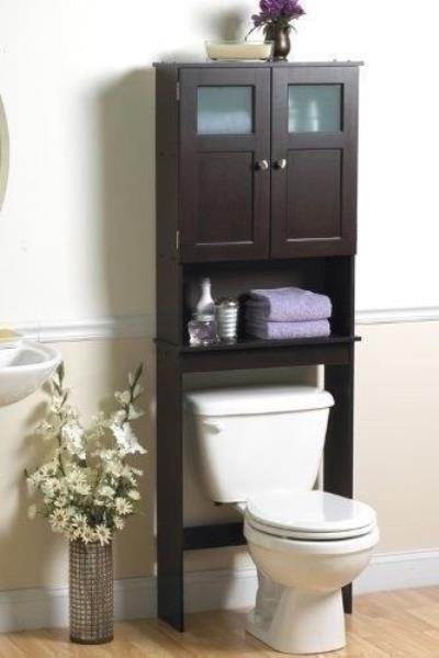 NEW Bath Storage Space Saver Over Toilet Shelf Espresso Frosted Bathroom  Cabinet. Space Savers Are A Free Standing ...