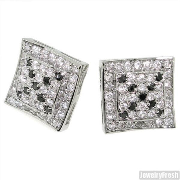 59245d566 Raised Center Silver CZ Iced Out Mens Earrings Black and White | eBay
