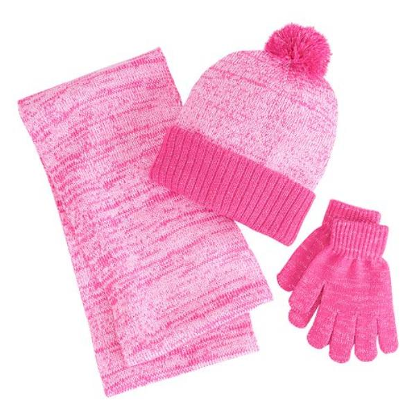 Berkshire 3pc Pink Winter Gift Marled Infinity Scarf Hat Gloves Set ... 9c101d867798