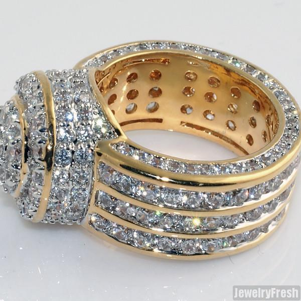 18k Gold Finish Cubic Zirconia Blizzard Mens Hip Hop Ring