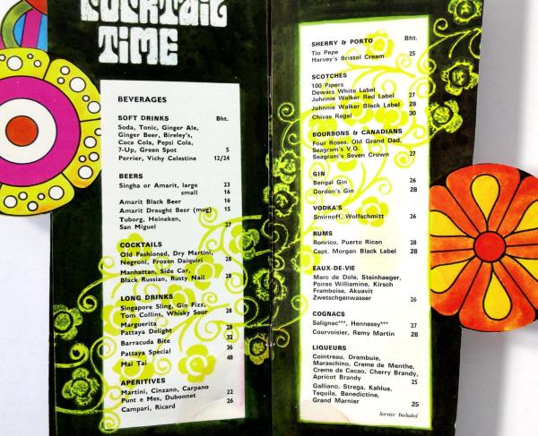 1960's Die Cut POOLSIDE TERRACE Menu NIPA LODGE Pattaya