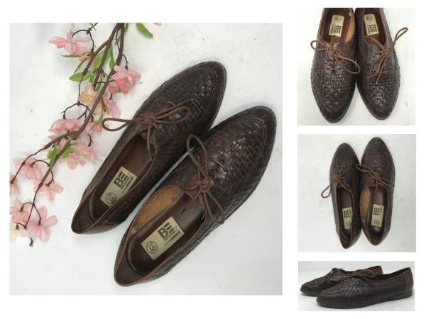 83b51ccbd19e6 Vintage 80s Brown Leather Weaved Loafers Shoes 6.5 M Woven Women's ...