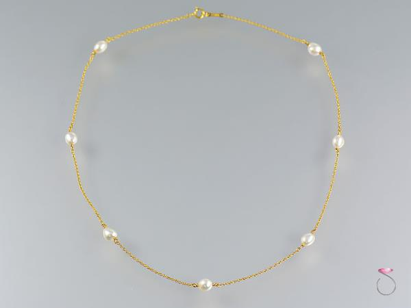 1a87383134d7e Details about Tiffany & Co. 18K Pearl Necklace, Pearls By The Yard by Elsa  Peretti 16 inches.