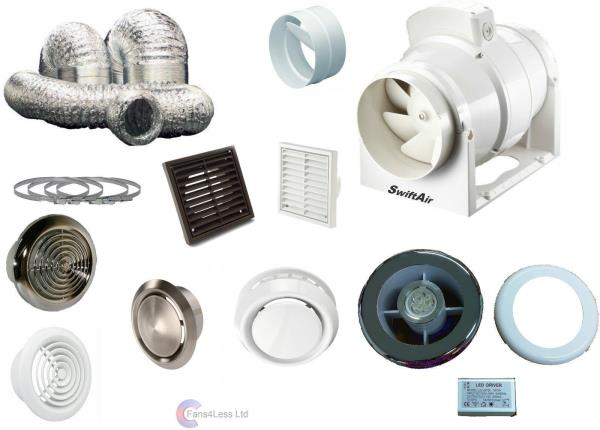 Timer Inline Powerful Extractor Shower Bathroom Fan Light Kit 220 330 530m3  Hr