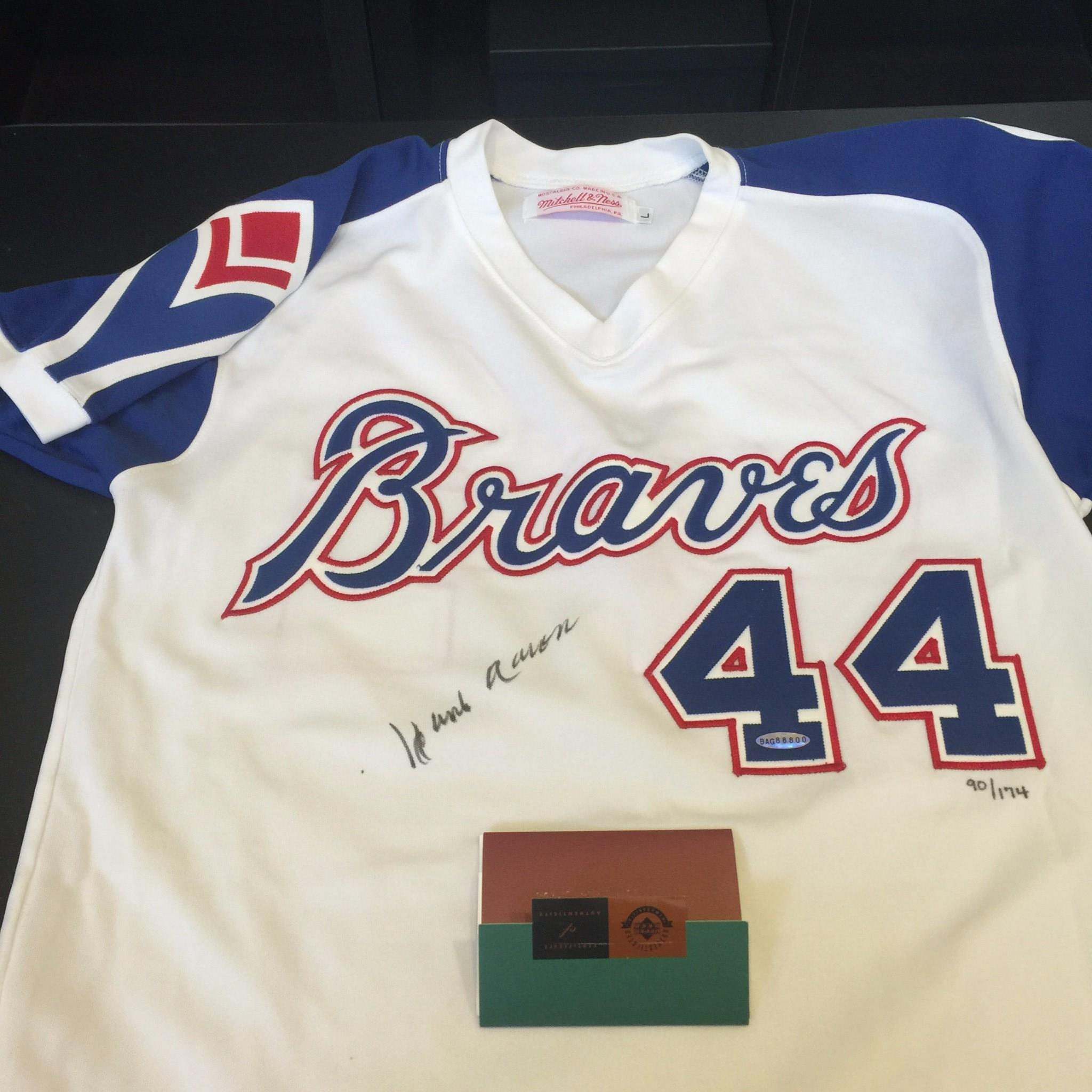 separation shoes 2a285 c6454 Details about Rare Hank Aaron Signed Authentic 1974 Atlanta Braves Jersey  Upper Deck UDA COA