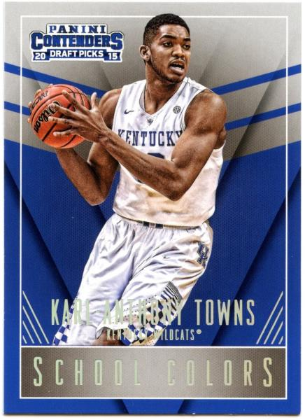 half off 91e9e c9e19 Details about Karl-Anthony Towns#24 Panini Contenders 2015 School Colors  Basketball Card C2452