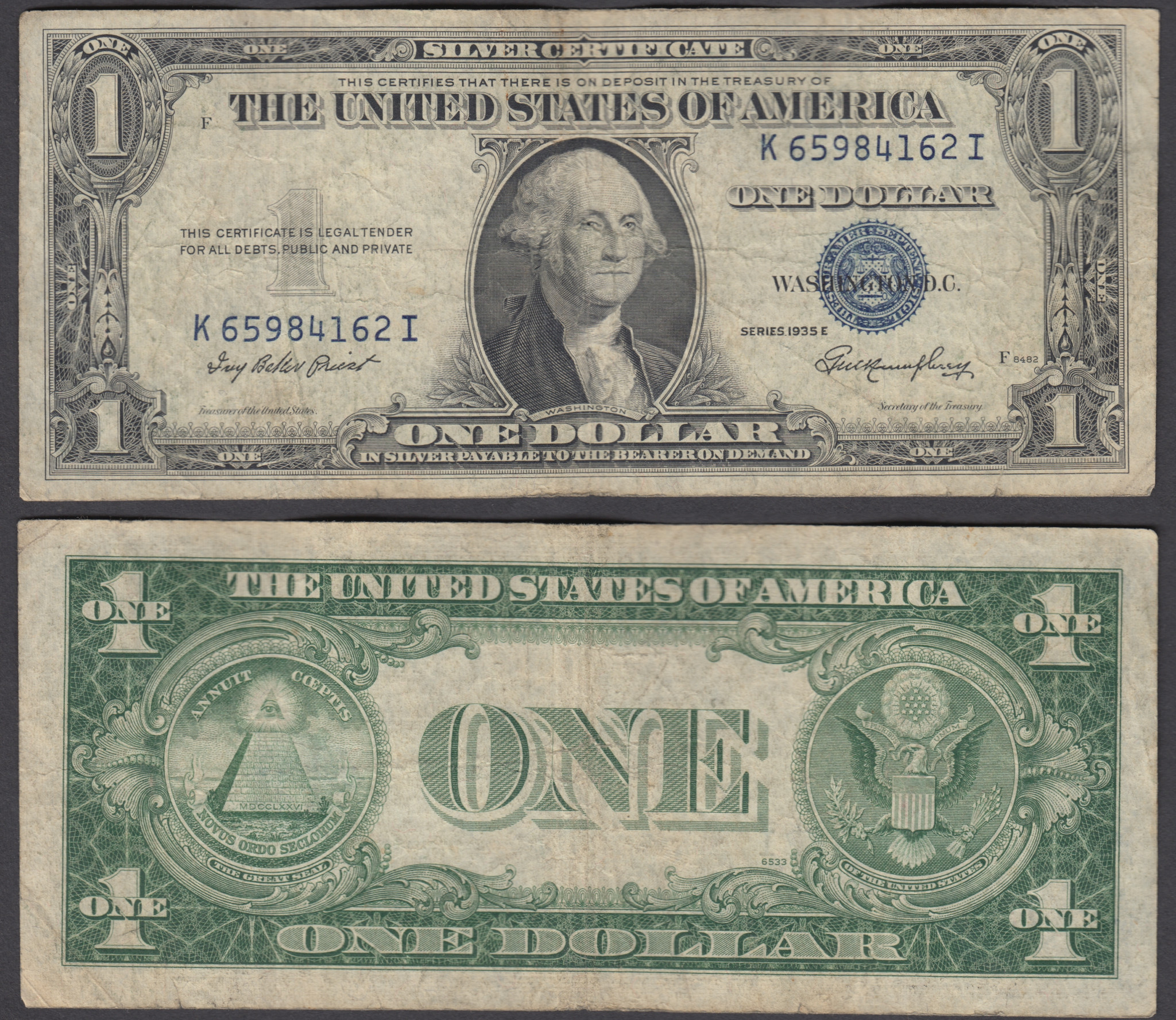 Usa 1 dollar 1935 series e f banknote silver certificate blue if you buy 2 items or more at a total of 50 you will receive free registered shipment to your country 1betcityfo Images