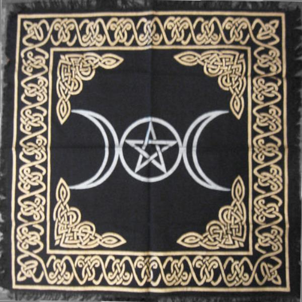 Altar Or Table And Wonderful For Wring Your Tarot Deck This Cloth Displays A Silver Triple Moon Symbol Of The Dess With Pentagram Within