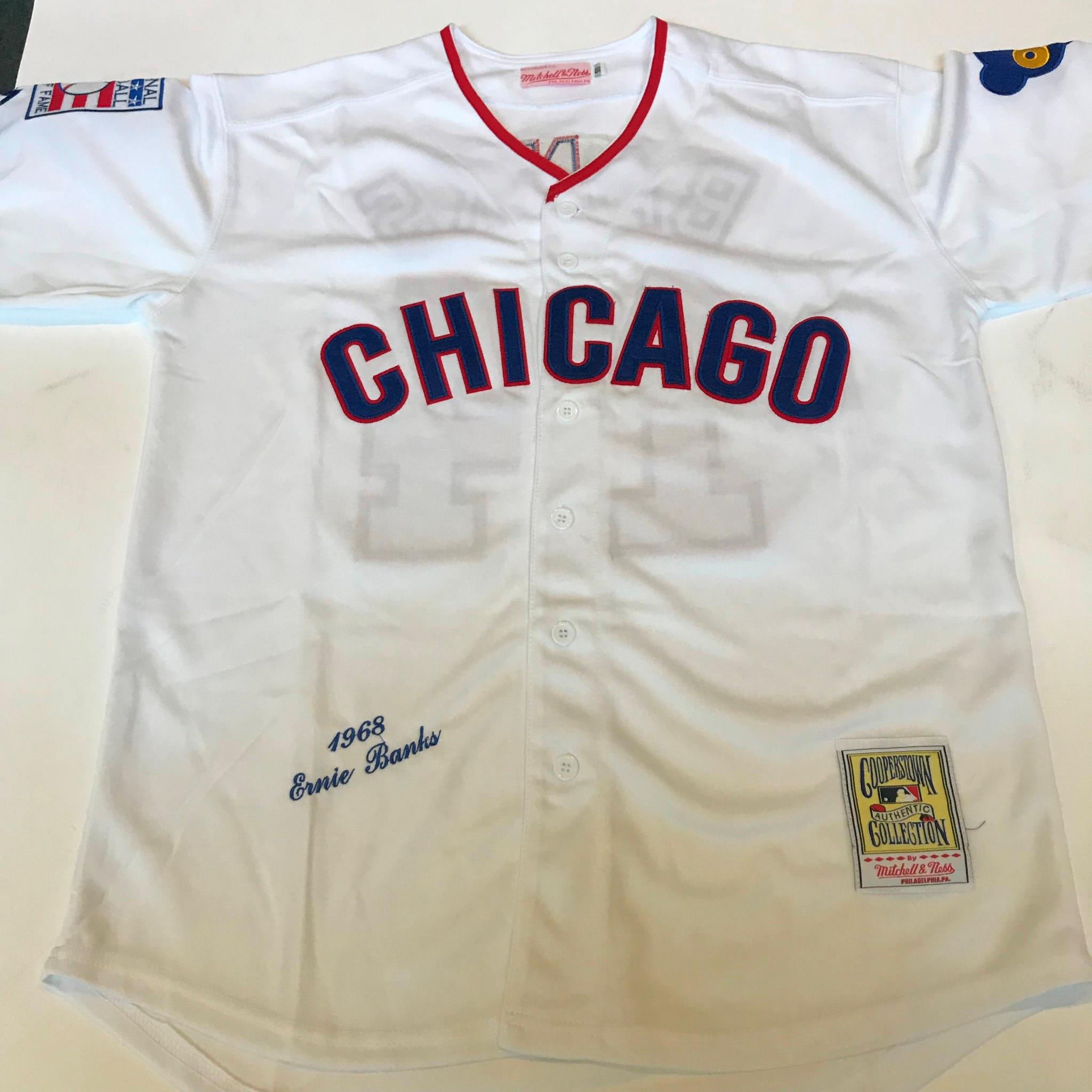 timeless design fbe22 ee1ed Details about Ernie Banks Signed Authentic 1968 Mitchell & Ness Chicago  Cubs Jersey Tristar