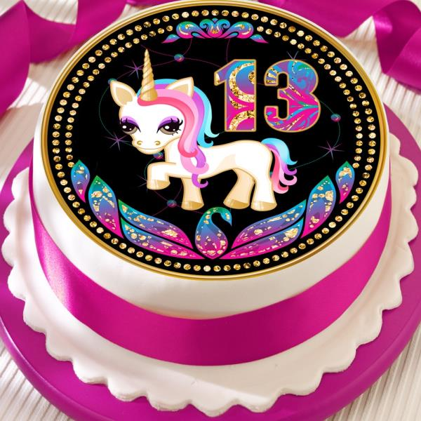 Unicorn Precut Edible Icing Sheet 75 Inch Cake Topper 13th Birthday