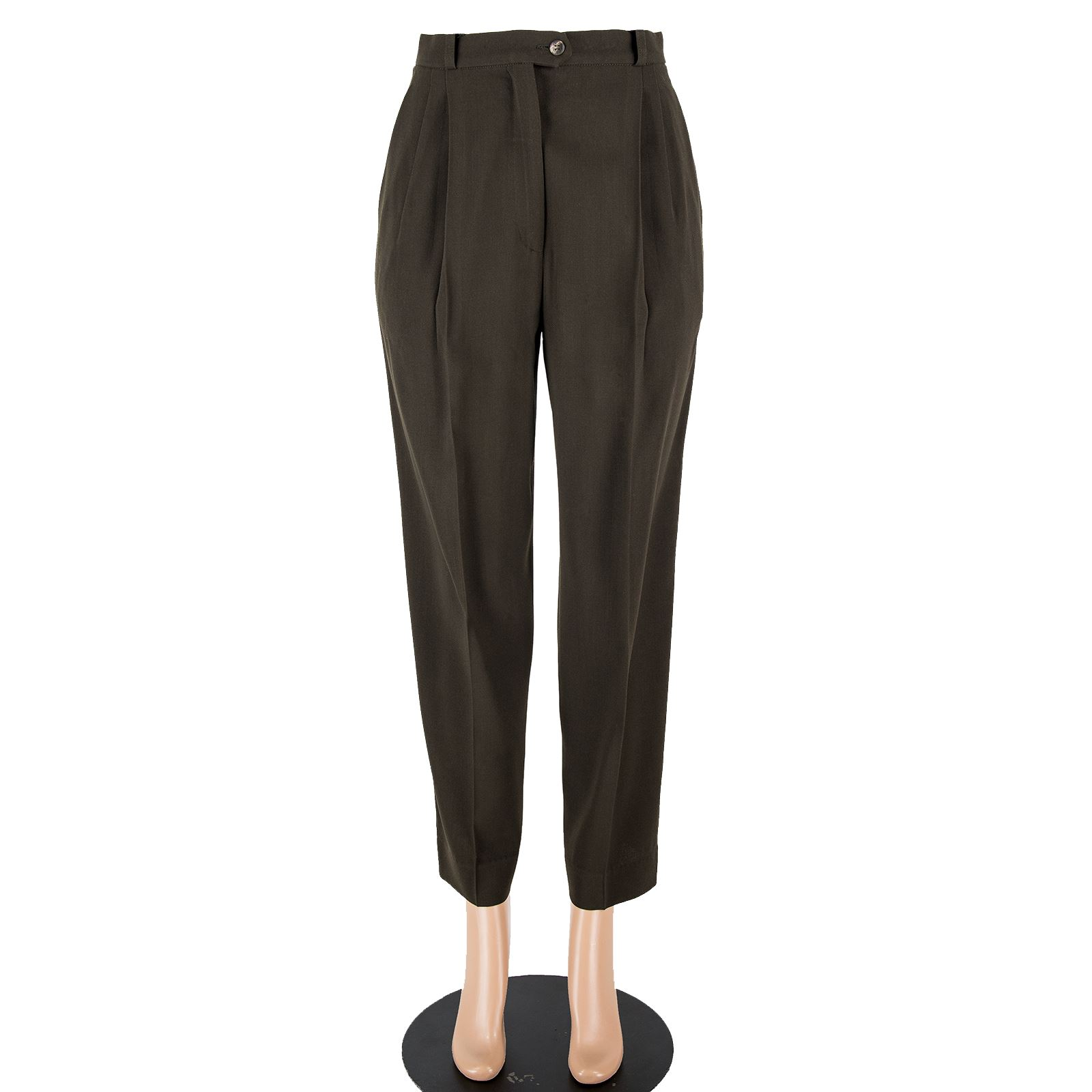 8422421b Details about Max Mara Brown Wool Pleated Front Belted Straight Leg Trousers  Pants SZ 8