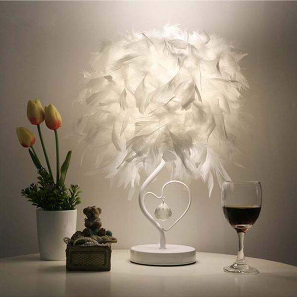 Bedside reading room sitting room heart shape feather crystal table warranty 1 body color white technics plated application study model number 1 frame color white item type table lamps voltage 220v240v aloadofball Choice Image