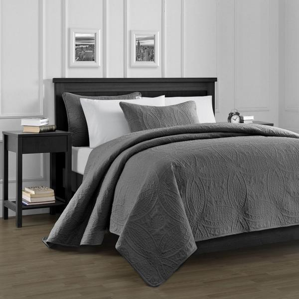 Queen King Size Charcoal Gray Embossed Oversized 3 pc Quilt Set ... : charcoal gray quilt - Adamdwight.com