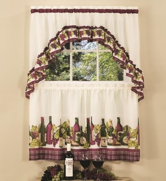 Wine And Grapes Window Curtain Set Kitchen Swag + 36