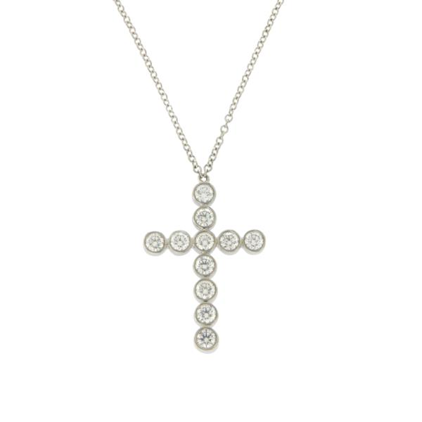 Luxo Jewelry News Letter - Premium Jewelry - Tiffany & Co. 950 Platinum 0.55 Ct Diamonds 22 mm Cross Necklace Size 16