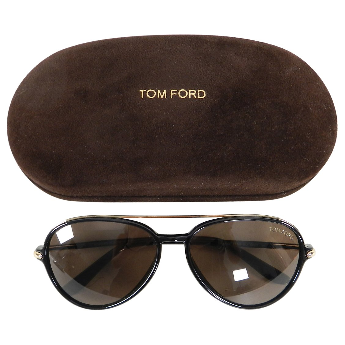 6182c111ea8 Details about Tom Ford RF149 Ramone Black Frame Aviator Sunglasses with Gold  Trim