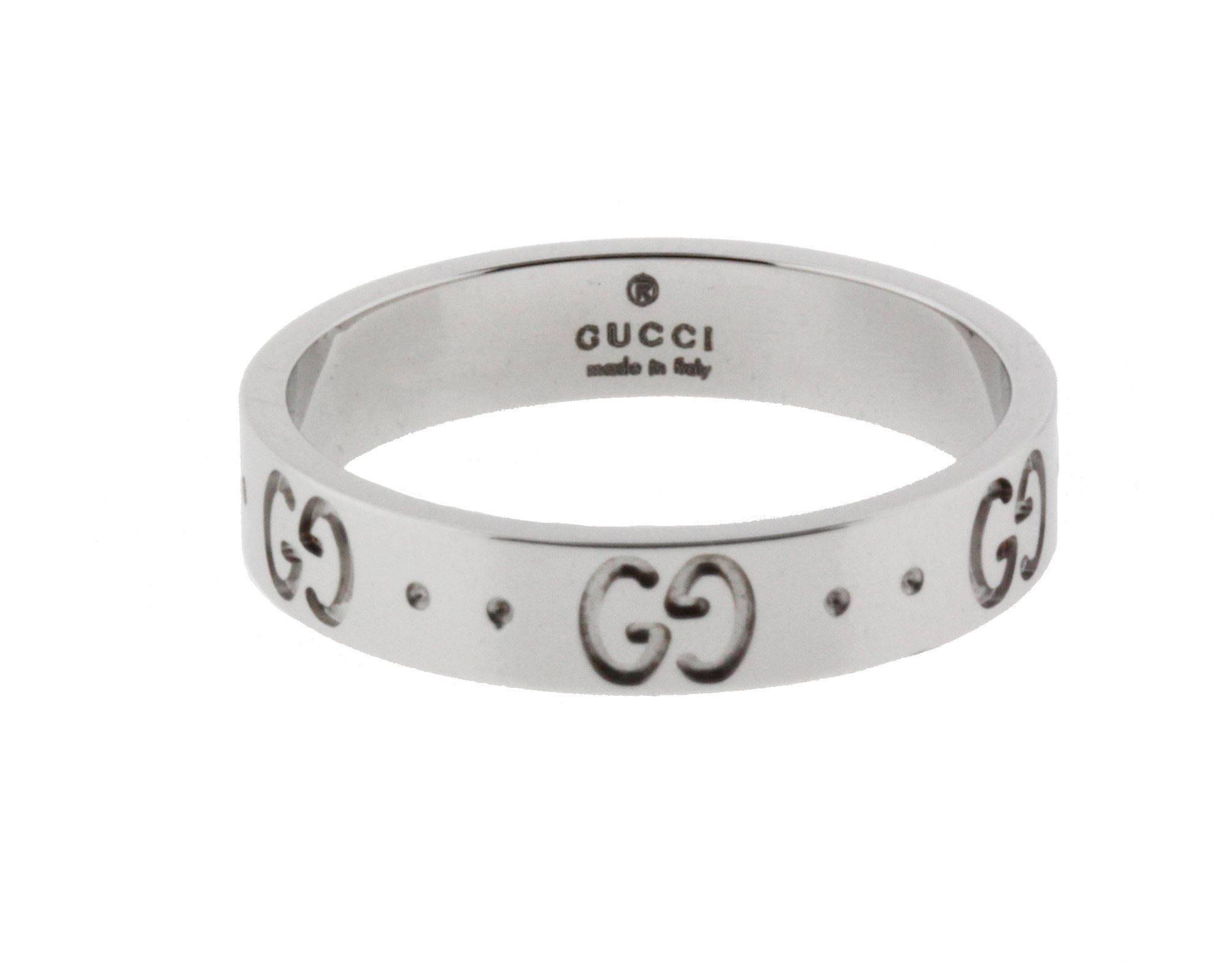 eced3c81f2ea83 Gucci Icon thin band band ring in 18 karat white gold new in box size 5.25