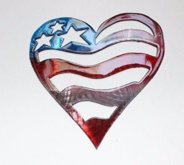 Stars And Stripes Red White Blue Heart Metal Wall Art Decor 7
