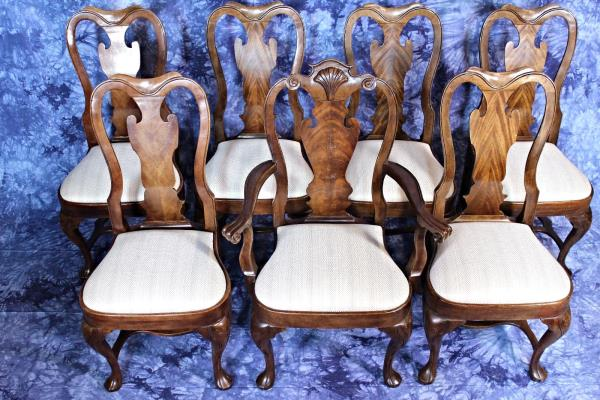 Shop Queen Anne Desk Chair Set Free Shipping Today >> Set 8 Eight Queen Anne Style Dining Chairs Set Side Armchair
