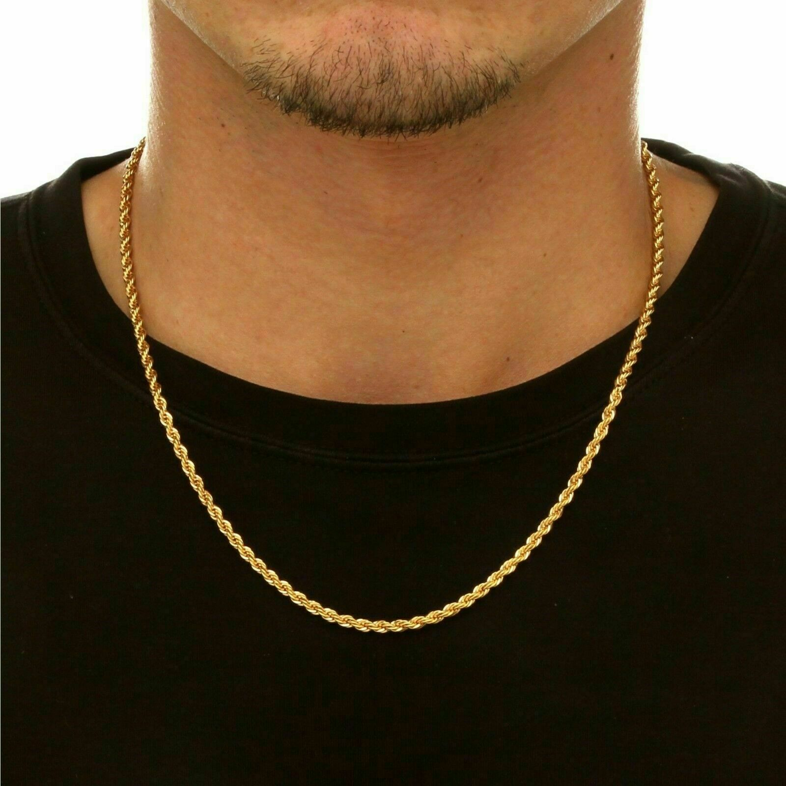 14k Gold over 925 Sterling Silver Diamond Cut Rope 1mm Chain Necklace .925 Italy