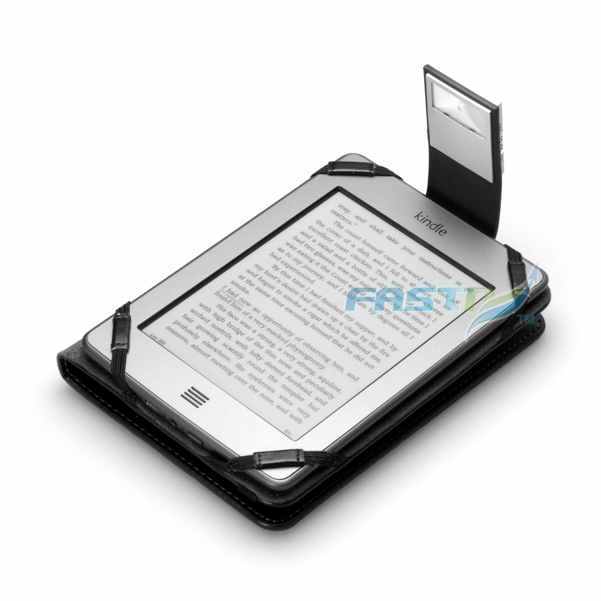 PREMIUM BLACK PU LEATHER KINDLE TOUCH / 4 WiFi CASE COVER WALLET WITH LED LIGHT | eBay