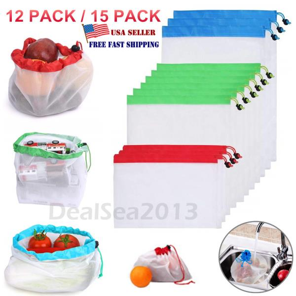Reusable Produce Bags Black Rope Mesh Vegetable Fruit Toys Storage Pouch Bags