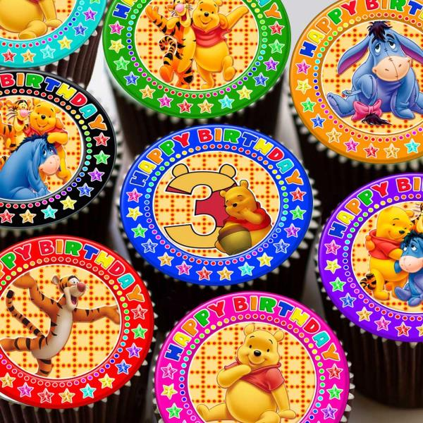 POOH BEAR AGE 1 BLUE 7.5 INCH CAKE TOPPER 30 EDIBLE CUPCAKE TOPPERS RICE PAPER Cake Decorations and Cake Toppers