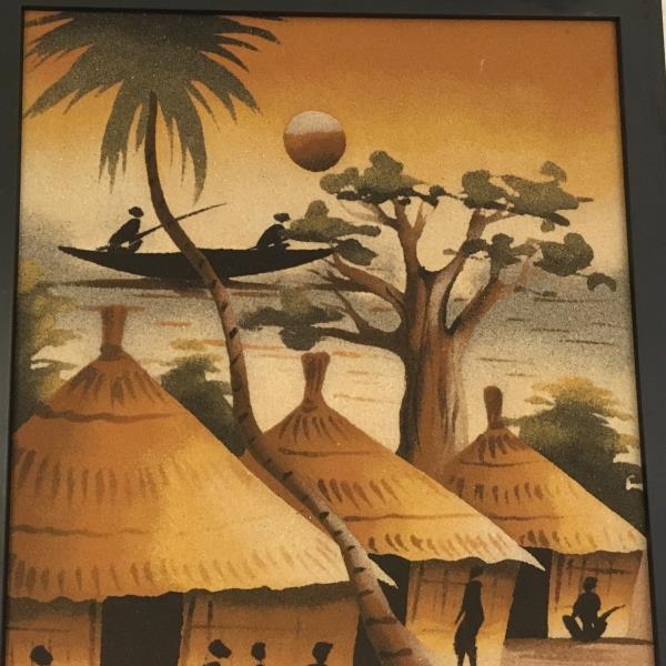 Vtg african sand painting 25 by 15 villiage ethnic natives huts if bl50 box 03 sciox Image collections
