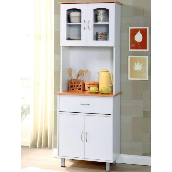 Details About White Tall Kitchen Microwave Stand Utility Cabinet Storage Shelves Cupboard Door