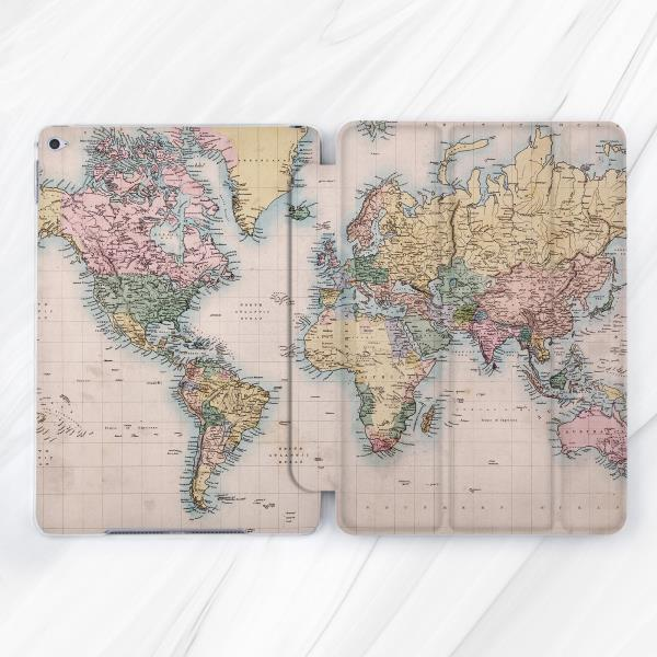 Vintage world map atlas smart cover case stand for apple ipad pro vintage world map atlas smart cover case stand for apple ipad pro air mini 2 3 4 gumiabroncs Gallery