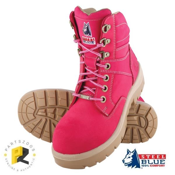 90fdc3acaee Details about Steel Blue Southern Cross Ladies Pink Purple Safety Toe Cap  Work Boots 522760