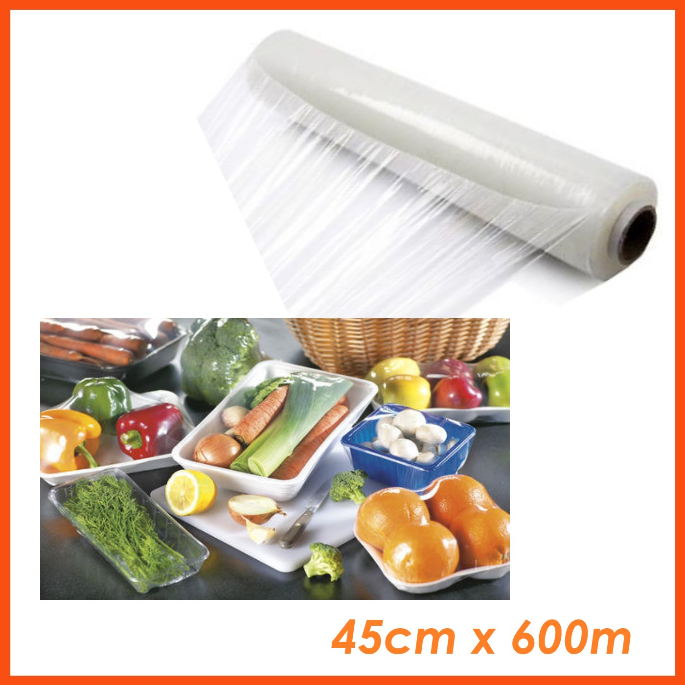 HEAVY DUTY CLING FOOD WRAP ROLL 45cm x 600m WITH CUTTER | Plastic